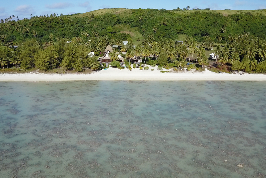 Aitutaki Escape - View of property from sea to land